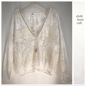 FREE PEOPLE🌼 Long Sleeve Lace Embellished TOP